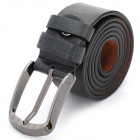 Stylish Cowhide Leather Men's Belt with Zinc Alloy Buckle - Black (3.7cm Width)