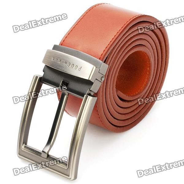 Stylish Cowhide Leather Men's Belt with Zinc Alloy Buckle - Brown (3.7cm Width)