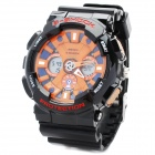 Sports Diving Wrist Watch w / Week / Stopwatch / Alarm Clock - Black + Orange (1 x CR2032)