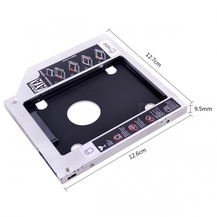 2.5 SATA to SATA HDD / SSD Caddy for 9.5mm Optical DriveOther Accessories<br>Model:Form  ColorWhiteMaterial:Packing List<br>
