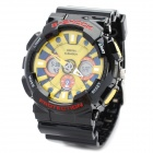 Sports Diving Wrist Watch w / Week / Stopwatch / Alarm Clock - Black + Yellow (1 x CR2032)
