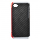 Stylish Protective Aluminum Alloy Frame Case with Back Sticker for iPhone 4 / 4S - Red + Silver