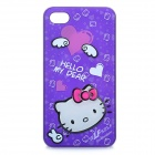 Hello Kitty Style Protective Case Cover for iPhone 4/4S - White + Purple