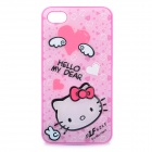 Hello Kitty Style Protective Case Cover for iPhone 4/4S - White + Pink