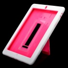 Protective Plastic + Silicone Case with Stand Holder for iPad 2 - Pink + White