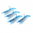 Lifelike Shrimp Style Fishing Bait with Hook - Blue (4-Piece)