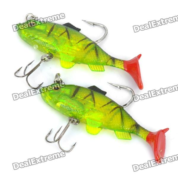 Lifelike Fish Style Soft PVC Fishing Baits w/ Hooks - Green (Pair)