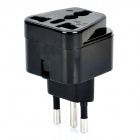 3-PIN AU / US / UK / EU to Brazil Travel Power Plug Adapter - Black