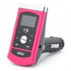 "1"" LCD MP3 Player FM Transmitter w/ USB / 3.5MM Audio / TF - Deep Pink (DC 12~24V)"