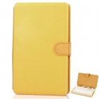 "Protective 80-key Keyboard with Folding Leather Case for 7"" Tablet - Yellow"
