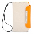 Protective PU Leather Flip-Open Case for Iphone 4 / 4S - Beige