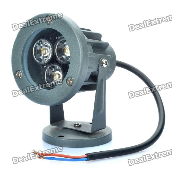 3W 3500K 260-Lumen 3-LED Warm White Light Spot Lamp - Dark Grey (DC 12V) led 5001 9w 450lux 3 led video lamp dark grey