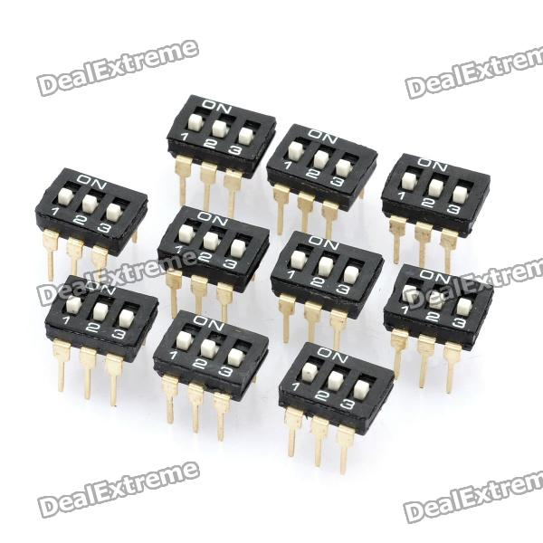 DIY 3 Pole 2 Position 6 Pin Dip Switch (10-Piece Pack) diy 4 position 2 54mm pitch dip switches 10 piece pack