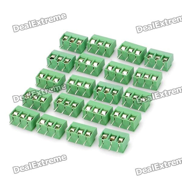 3-Pin Screw Terminal Block Connectors (20-Piece Pack) 300v 10a 3 pin screw terminal block connector w cover 12 piece pack