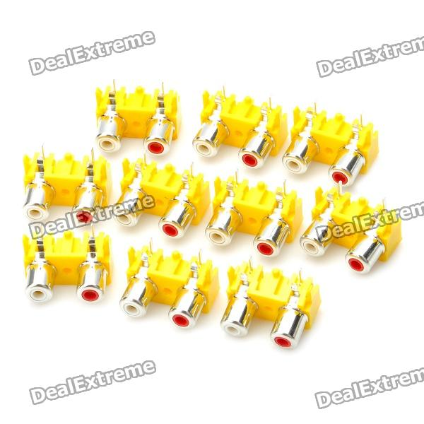 Replacement Audio RCA Connectors - Yellow (10-Piece Pack)