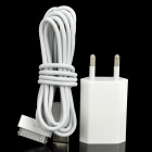 AC Power Charger with USB Date Charging Cable for iPhone 4 / 4S - White (110~240V AC)