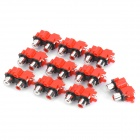 Replacement Audio RCA Chassis Connectors - Red + Black + Silver (10-Pack)