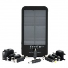 3600mAh Solar Powered Rechargeable Emergency Charger w/ Flashlight & Cellphone Adapters (Black)