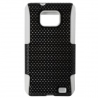 Protective TPU Net Frame + Silicone Case Cover for Samsung i9100 - White + Black