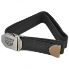 Tactical Durable Canvas Belt w/ Transformers Autobots Pattern Alloy Buckle - Black