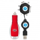 Multifunction USB Car Cigarette Lighter Charger with 6-in-1 Adapter - Red + Silver
