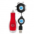 Multifunction Car Cigarette Lighter Charger with 6-in-1 Adapter - Red + Silver