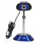 USB Retractable PC Camera Webcam with Touch Control White 3-LED Illumination Light - Blue