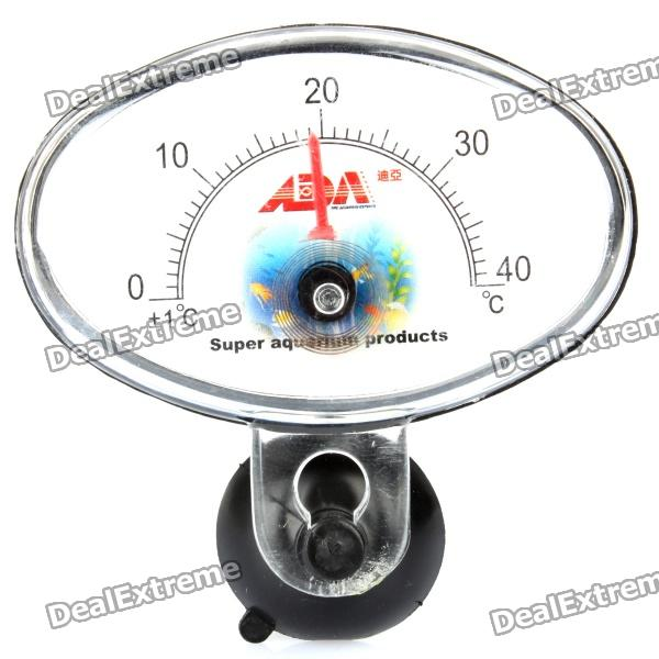 Oval Shaped Submersible Waterproof Aquarium Analog Thermometer - Black (0~40'C)