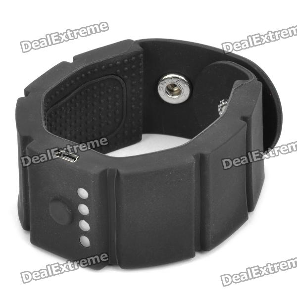 1500mAh Silicone Wristband Battery Power Charger w/ Adapters for Cell Phone + More - Black