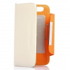 KALAIDENG Protective PU Leather Flip-Open Case for Motorola MOTO XT910 - Beige + Orange