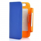 KALAIDENG Protective PU Leather Flip-Open Case for Motorola MOTO XT910 - Blue + Orange