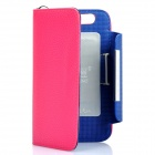KALAIDENG Protective PU Leather Flip-Open Case for Motorola MOTO XT910 - Deep Pink + Blue