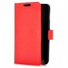 Protective PU Leather Flip-Open Case with Frame for Samsung I9220 - Red