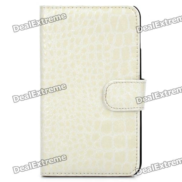 Protective Crocodile Skin Style PU Leather Case for Samsung i9220 - White crocodile skin style protective back case for iphone 5 white
