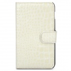 Protective Crocodile Skin Style PU Leather Case for Samsung i9220 - White