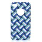 Stylish Protective PC Back Case for Iphone 4 / 4S - Blue + White
