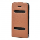 Ultra-Thin Protective Top Flip-Open PVC Leather Case w/ ABS Holder for iPhone 4 / 4S - Brown