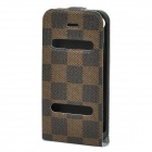Ultra-Thin Protective Top Flip-Open PVC Leather Case w/ ABS Holder for iPhone 4 / 4S - Brown + Black
