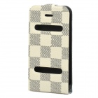 Ultra-Thin Protective Top Flip-Open PVC Leather Case w/ ABS Holder for iPhone 4 / 4S - White + Black