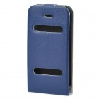Ultra-Thin Protective Top Flip-Open PVC Leather Case w/ ABS Holder for iPhone 4 / 4S - Blue