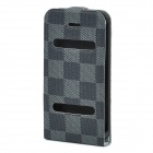 Ultra-Thin Protective Top Flip-Open PVC Leather Case w/ ABS Holder for iPhone 4 / 4S - Black + Grey