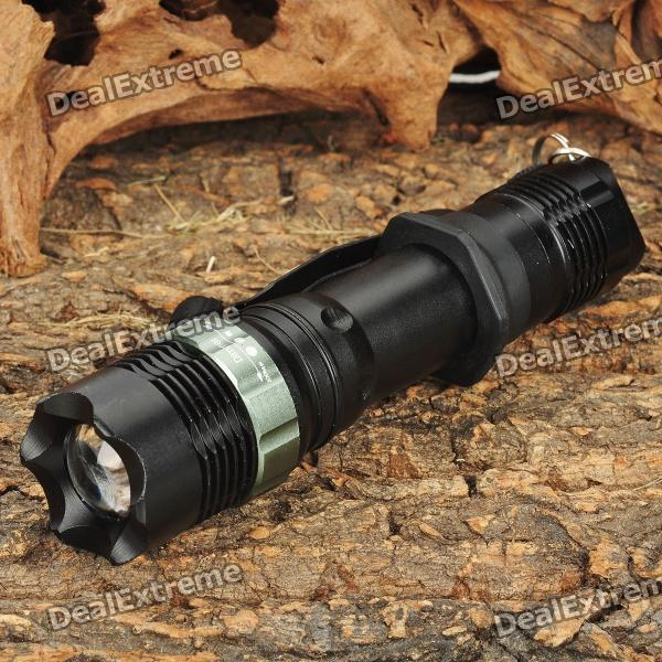 Focus Zoom Lens 3-Mode 270LM LED Flashlight w/ Charger & Battery- Black (1x18650)