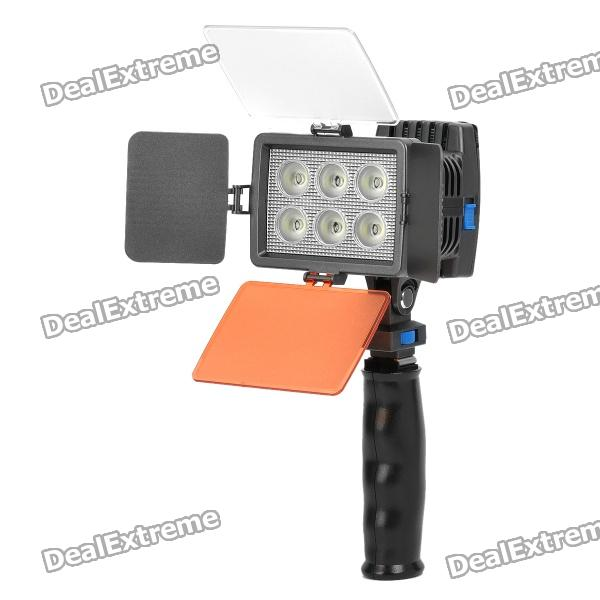 15W 6000K 1050Lux 6-LED White Light Video Lamp with Filters for Camera / Camcorder - Black