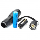 Focus Zoom Lens 5-Mode 900LM White 1-LED Waterproof Flashlight w/ Charger & Strap (1x18650)