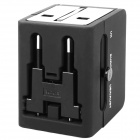 Travelling Universal Socket + Dual USB AC Power Adapter w/ UK / US / EU Plug (AC 250V Max.)