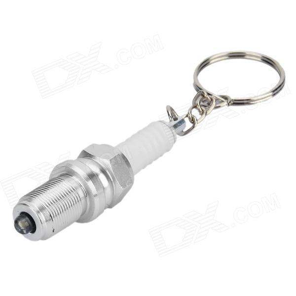 Spark Plug Style 1-LED White Light Keychain - White + Silver (4 x LR41) lovely pig style white light 2 led keychain w sound effect beige deep pink 3 x ag13