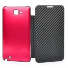 Protective Wire Drawing Back Cover with Leather Case for Samsung i9220 Galaxy Note - Red + Black