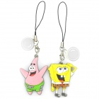 Cute SpongeBob + Patrick Star Figure Cell Phone Straps - Yellow + Pink