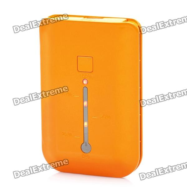 Portable 3000mAh Emergency Battery Pack w/ Compass / 1-LED / Adapters for Cell Phone + More - Orange