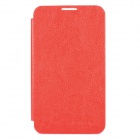 Ultra-Thin Protective PC Back Case w/ PU Leather Flip Cover for Samsung i9220 - Red